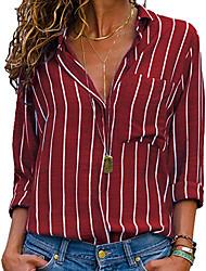 cheap -Women's Daily Basic Shirt - Geometric Shirt Collar Red