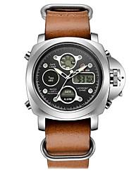 cheap -Men's Sport Watch Digital Watch Japanese Digital Genuine Leather Black / Brown 30 m Water Resistant / Waterproof Calendar / date / day Chronograph Analog - Digital Fashion - Black Brown / Stopwatch