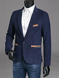 abordables -Homme Soirée / Sports Chic de Rue Automne / Hiver Normal Blazer, Bloc de Couleur Col de Chemise Manches Longues Polyester Bleu Marine / Vin / Kaki