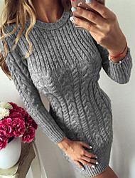 cheap -Women's Daily Casual Basic Skinny Bodycon Sweater Dress Knitted Twisted Light Blue Silver Blue S M L XL