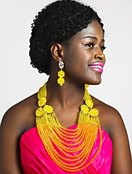 cheap -Women's Beaded Necklace Layered Ladies Fashion African Austria Crystal Earrings Jewelry Red / Hot Pink / Champagne For Wedding