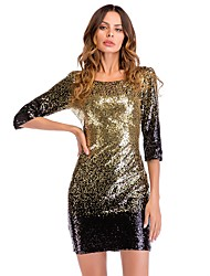 cheap -Women's Sequins Club Party / Cocktail New Year Eve Slim Bodycon Dress - Gradient Black, Sequins Open Back Glitter Gold L XL XXL
