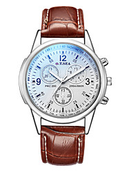 cheap -Men's Dress Watch Quartz Leather Black / Brown Chronograph Creative New Design Analog Classic Casual Fashion - Black Brown One Year Battery Life