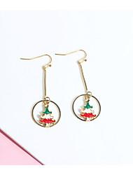cheap -Women's Earrings Long Elk Christmas Tree Ladies Simple European Fashion Earrings Jewelry Black / Gold / Red / Green For Christmas Gift 2pcs