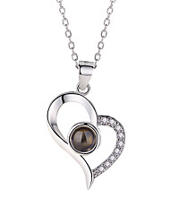 cheap -Women's Crystal Pendant Necklace Charm Necklace Mismatched Heart Letter i love you Ladies Dangling Classic Fashion Sterling Silver Glass Alloy Silver Rose Gold 40 cm Necklace Jewelry 1pc For Birthday