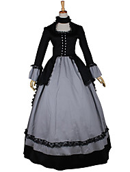 cheap -Rococo Victorian 18th Century Dress Party Costume Masquerade Women's Lace Satin Costume Vintage Cosplay Long Sleeve Long Length Ball Gown