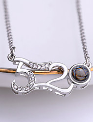 cheap -Women's Charm Necklace Classic Number Ladies Unique Design Korean Fashion Rhinestone Alloy Gold Silver 42+5 cm Necklace Jewelry 1pc For School Going out