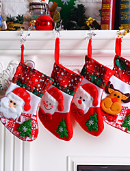cheap -Christmas Stocking Sock Santa Claus Candy Gift Bag Xmas Tree Hanging Pendant Drop Ornaments Decorations For Home