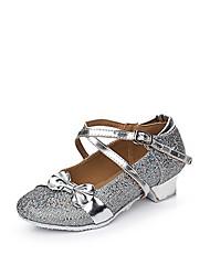 cheap -Women's Ballroom Shoes / Kids' Dance Shoes Elastic Fabric S-hook Clasp Flat Sequin / Buckle / Ruffles Low Heel Dance Shoes Gold / Silver / Pink / Indoor / EU39