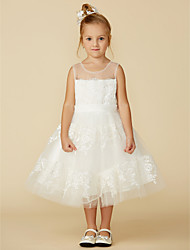 cheap -A-Line Tea Length Flower Girl Dress - Lace Sleeveless Jewel Neck with Lace / Sash / Ribbon / First Communion