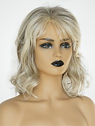 cheap -Human Hair Capless Wigs Human Hair Body Wave Asymmetrical / Short Hairstyles 2019 Hot Sale / Natural Hairline Dark Gray / Multi-color Medium Length Capless Wig Women's