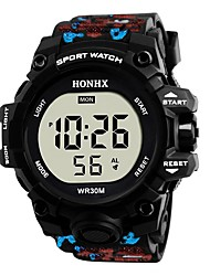 cheap -Men's Sport Watch Digital Watch Japanese Digital Quilted PU Leather Black / Blue / Red 30 m Water Resistant / Waterproof Chronograph Noctilucent Digital Sparkle Fashion - Black Red Green Two Years