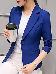cheap -Women's Work Short Blazer, Solid Colored Notch Lapel Long Sleeve Polyester Black / Wine / Light Blue