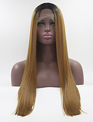cheap -Synthetic Lace Front Wig Straight Free Part Lace Front Wig Black / Blonde Long Black / Gold Synthetic Hair 18-26 inch Women's Adjustable Heat Resistant Elastic Black / Blonde