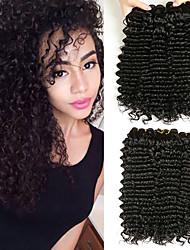 cheap -3 Bundles Peruvian Hair Wavy Deep Curly Human Hair Unprocessed Human Hair Wig Accessories Headpiece Natural Color Hair Weaves / Hair Bulk 8-28 inch Natural Color Human Hair Weaves Extender Soft Silky