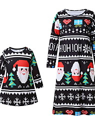 cheap -Mommy and Me Active Christmas Daily Geometric Christmas Long Sleeve Dress Black