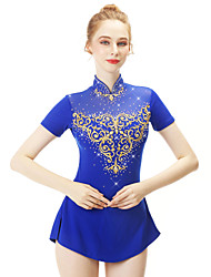 cheap -21Grams Figure Skating Dress Women's Girls' Ice Skating Dress Royal Blue Spandex Stretch Yarn High Elasticity Professional Competition Skating Wear Handmade Fashion Short Sleeve Ice Skating Winter