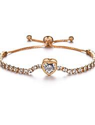 cheap -Women's Chain Bracelet Beaded Heart Ladies Romantic Rhinestone Bracelet Jewelry Gold For Gift Festival