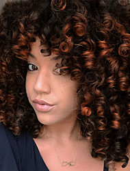cheap -Synthetic Extentions Afro Curly Bouncy Curl Asymmetrical With Bangs Wig Short Ombre Black / Medium Auburn Black / Grey Black / Burgundy Natural Black Dark Brown / Medium Auburn Synthetic Hair 14 inch