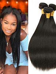 cheap -3 Bundles Straight Human Hair Unprocessed Human Hair Natural Color Hair Weaves / Hair Bulk Hair Care Extension 8-28 inch Natural Color Human Hair Weaves Smooth Easy dressing Best Quality Human Hair