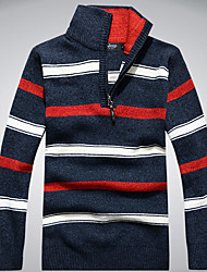 cheap -Men's Daily Basic Striped / Color Block Long Sleeve Regular Pullover Sweater Jumper, Round Neck Light Brown / Blue / Red M / L / XL