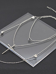 cheap -Women's Long Necklace Layered Cross Heart Ladies Dangling Fashion Alloy Silver 67+5 cm Necklace Jewelry 1 set For Street Bar
