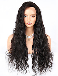 cheap -Remy Human Hair Lace Front Wig Deep Parting With Bangs Kardashian style Brazilian Hair Water Wave Natural Ombre Wig 130% 150% 180% Density 8-24 inch with Baby Hair Thick with Clip Pre-Plucked Women's