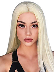 cheap -Remy Human Hair Lace Front Wig Gaga style Brazilian Hair Straight Blonde Wig 150% Density with Baby Hair Silky Natural Hairline Glueless Bleached Knots Women's Long Human Hair Lace Wig Guanyuwigs