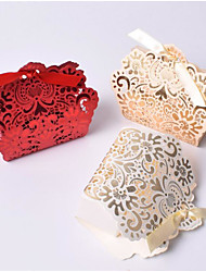 cheap -Floral Pattern Card Paper Favor Holder with Bandage Gift Boxes - 10pcs
