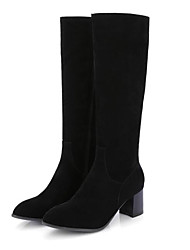 cheap -Women's Boots Knee High Boots Chunky Heel Closed Toe PU Knee High Boots Fall Black / Yellow / Gray
