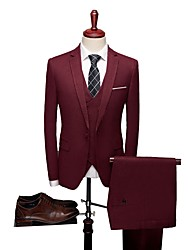 cheap -Solid Colored Tailored Fit Polyester Suit - Notch Single Breasted One-button / Suits