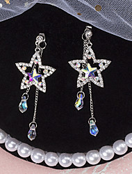 cheap -Women's Jacket Earrings Link / Chain Star Ladies European Rhinestone Silver Plated Austria Crystal Earrings Jewelry Silver For Going out 1 Pair
