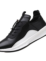cheap -Men's Light Soles PU Fall Casual Athletic Shoes Walking Shoes Breathable Black / White