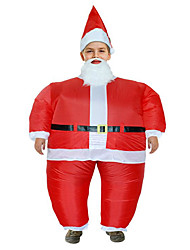 cheap -Cosplay Costume Santa Clothes Teen Adults' Men's Christmas Christmas New Year Festival / Holiday Padded Fabric Linen Red Carnival Costumes Holiday