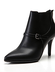 cheap -Women's Boots Stiletto Heel Pointed Toe Classic Vintage Preppy Daily Office & Career Solid Colored Faux Leather Booties / Ankle Boots Walking Shoes Black / Burgundy