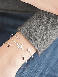 cheap -3pcs Women's Bracelet Bangles Cuff Bracelet Pendant Bracelet Beaded Layered Alphabet Shape Love Wave Ladies Simple Korean Resin Bracelet Jewelry Gold / Silver For Daily Date Going out Birthday