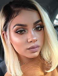 cheap -Virgin Human Hair Remy Human Hair Lace Front Wig Bob Short Bob Emma style Peruvian Hair Straight Blonde Wig 150% Density with Baby Hair Dark Roots Natural Hairline For Black Women 100% Virgin Women's