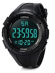 cheap -Men's Sport Watch Digital Watch Japanese Digital Silicone Black / Blue 30 m Water Resistant / Waterproof Alarm Calendar / date / day Digital Fashion - Black Blue / Chronograph / Stopwatch