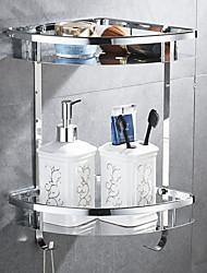 abordables -Etagère de Salle de Bain Multicouche contemporain Acier inoxydable 1pc Montage mural