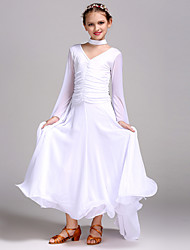 cheap -Ballroom Dance Dresses Girls' Training / Performance Chiffon / Tulle / Milk Fiber Split Joint Long Sleeve High Dress / Neckwear