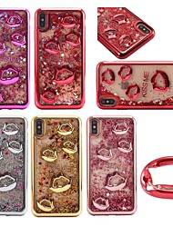 cheap -Case For Apple iPhone XS / iPhone XR / iPhone XS Max Shockproof / Flowing Liquid / Transparent Back Cover Cartoon / 3D Cartoon / Glitter Shine Soft TPU