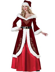 cheap -Santa Clothes Adults Adults' Women's Halloween Christmas Christmas Halloween Carnival Festival / Holiday Polyster Red Women's Carnival Costumes Solid Colored Christmas / Dress / Hat / Waist Belt