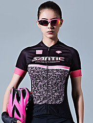 cheap -SANTIC Women's Short Sleeve Cycling Jersey Black / Pink Bike Jersey Top Breathable Sweat-wicking Sports 100% Polyester Mountain Bike MTB Road Bike Cycling Clothing Apparel / Stretchy / Advanced