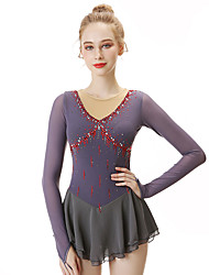cheap -21Grams Figure Skating Dress Women's Girls' Ice Skating Dress Dark Gray Spandex Stretch Yarn Lace High Elasticity Professional Competition Skating Wear Handmade Fashion Long Sleeve Ice Skating Winter
