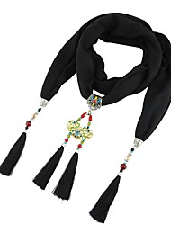 cheap -Women's Scarf Necklace Tassel Fringe Ladies Tassel Natural Bohemian Poly / Cotton Wine Black Light Green Blue Orange 180 cm Necklace Jewelry 1pc For Gift