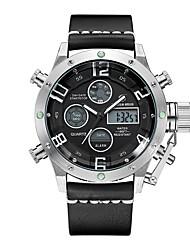 cheap -Men's Sport Watch Digital Watch Japanese Digital Genuine Leather Black / Red 30 m Water Resistant / Waterproof Calendar / date / day Chronograph Analog - Digital Fashion - Black / Red Black / Silver