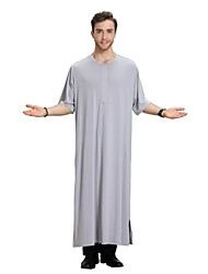 cheap -Men's Daily / Holiday / Work Vintage / Basic Spring / Summer Long Abaya, Solid Colored Round Neck Short Sleeve Polyester White / Gray