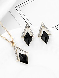 cheap -Women's Cubic Zirconia Stud Earrings Pendant Necklace Classic Ladies Geometric Trendy Fashion Rhinestone Earrings Jewelry Black For Party Festival 1 set