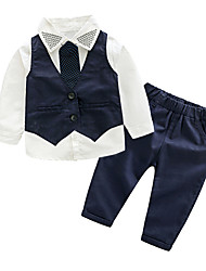 cheap -Kids Toddler Boys' Active Basic Party Daily Solid Colored Striped Long Sleeve Regular Regular Cotton Clothing Set Navy Blue