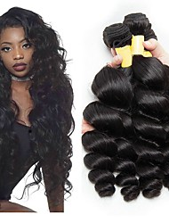 cheap -3 Bundles Peruvian Hair Wavy Human Hair Unprocessed Human Hair 300 g Natural Color Hair Weaves / Hair Bulk Extension Bundle Hair 8-28 inch Natural Color Human Hair Weaves Extender Silky Best Quality